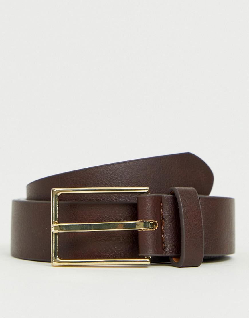 55006b5596e Lyst - Asos Smart Faux Leather Slim Belt In Brown in Brown for Men