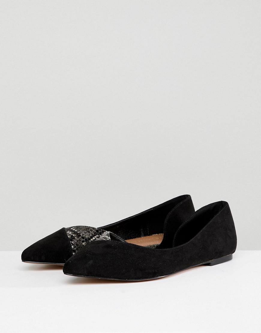 bc5c307b0833 Lyst - ASOS Asos Vixen Wide Fit D orsay Point Ballet Flats in Black