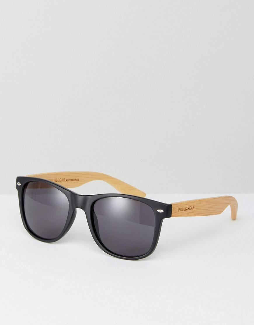 49e39bf3f0 Lyst - Pull Bear Retro Sunglasses In Matte Black With Wooden Temples ...