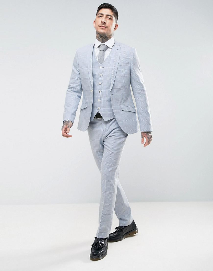 Heart & Dagger Summer Wedding Slim Suit Pant In Linen Check in Blue for Men