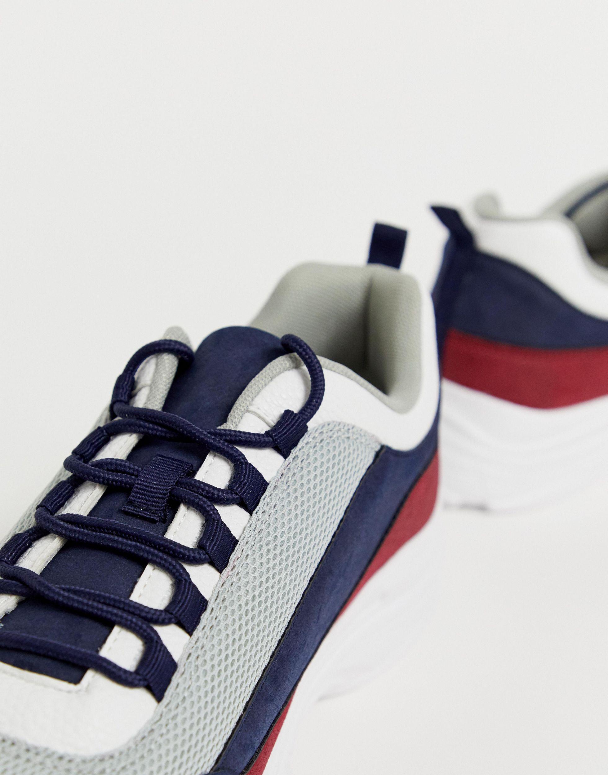 Truffle Collection Suède Meerkleurige Sneakers Met Dikke Zool in het Blauw voor heren
