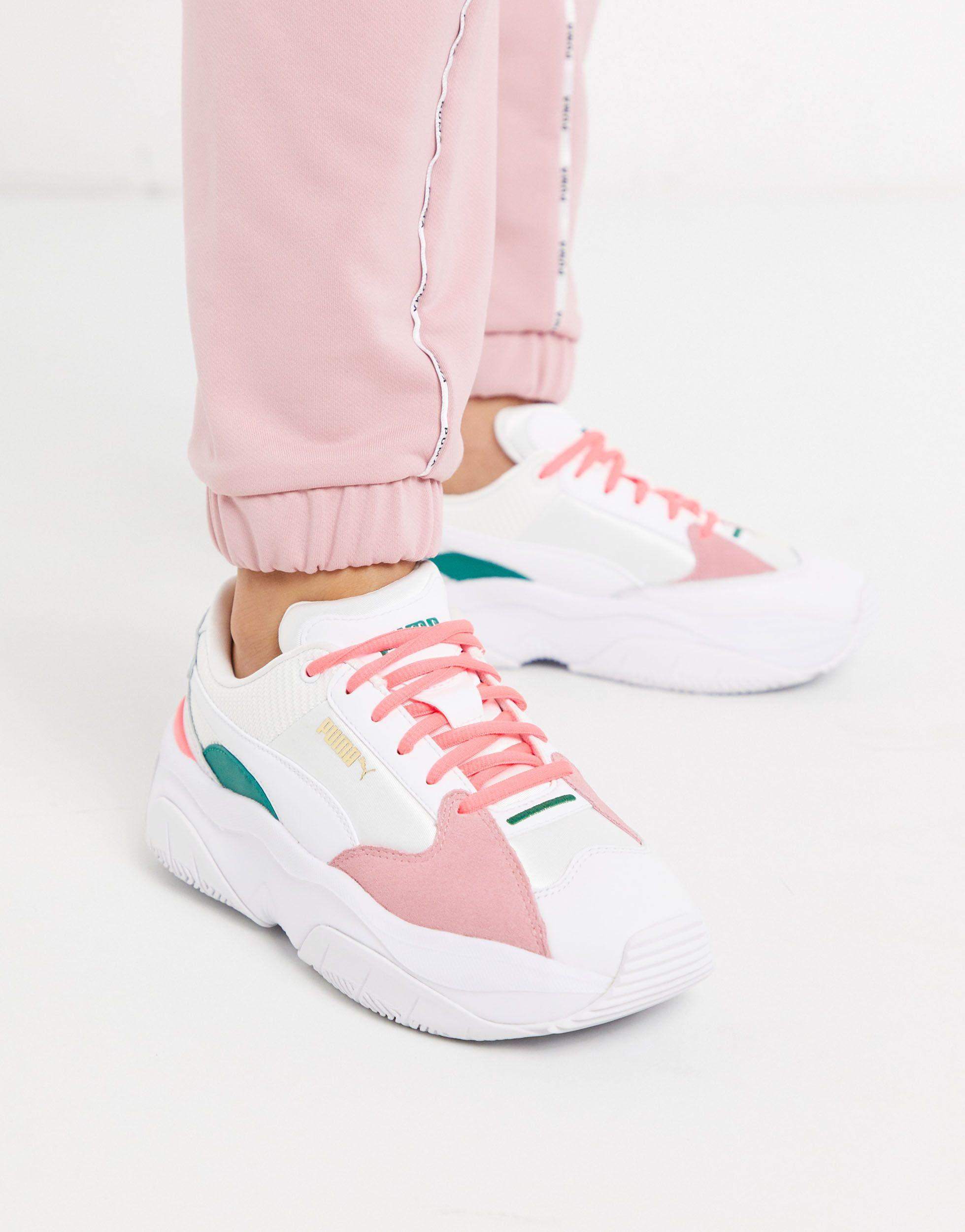 PUMA Leather Storm.y Metallic Sneakers in Gray - Lyst