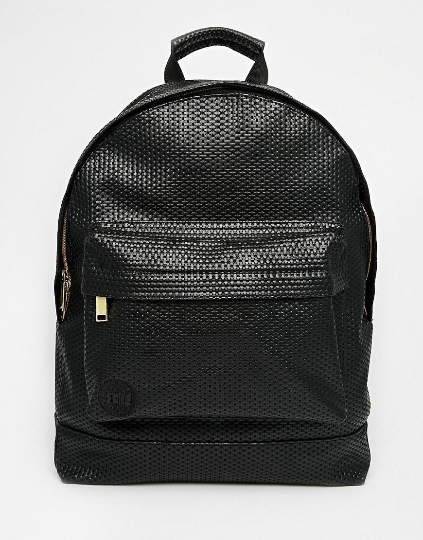 lyst mi pac perforated backpack in black. Black Bedroom Furniture Sets. Home Design Ideas