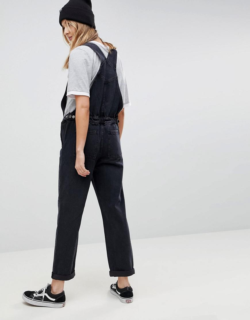 e2257be65018 Lyst - ASOS Asos Design Maternity Denim Overall In Washed Black in Black