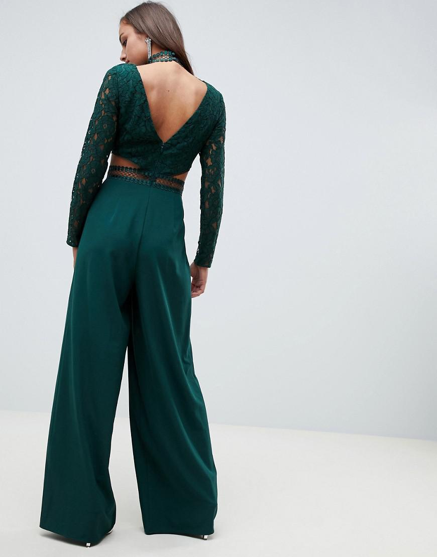 e9aebecfd70 Lyst - ASOS Premium Cut Out Lace Jumpsuit in Black