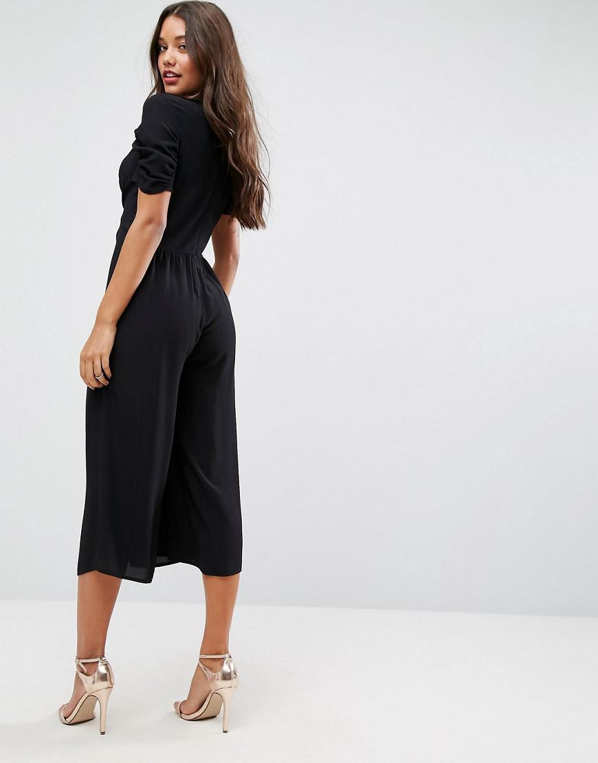ec1747eb0e Lyst - ASOS Asos Tea Jumpsuit With Knot Front in Black
