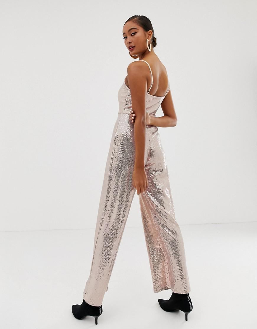 af759761750 Lyst - Miss Selfridge Wide Leg Jumpsuit In Gold Sequin in Metallic