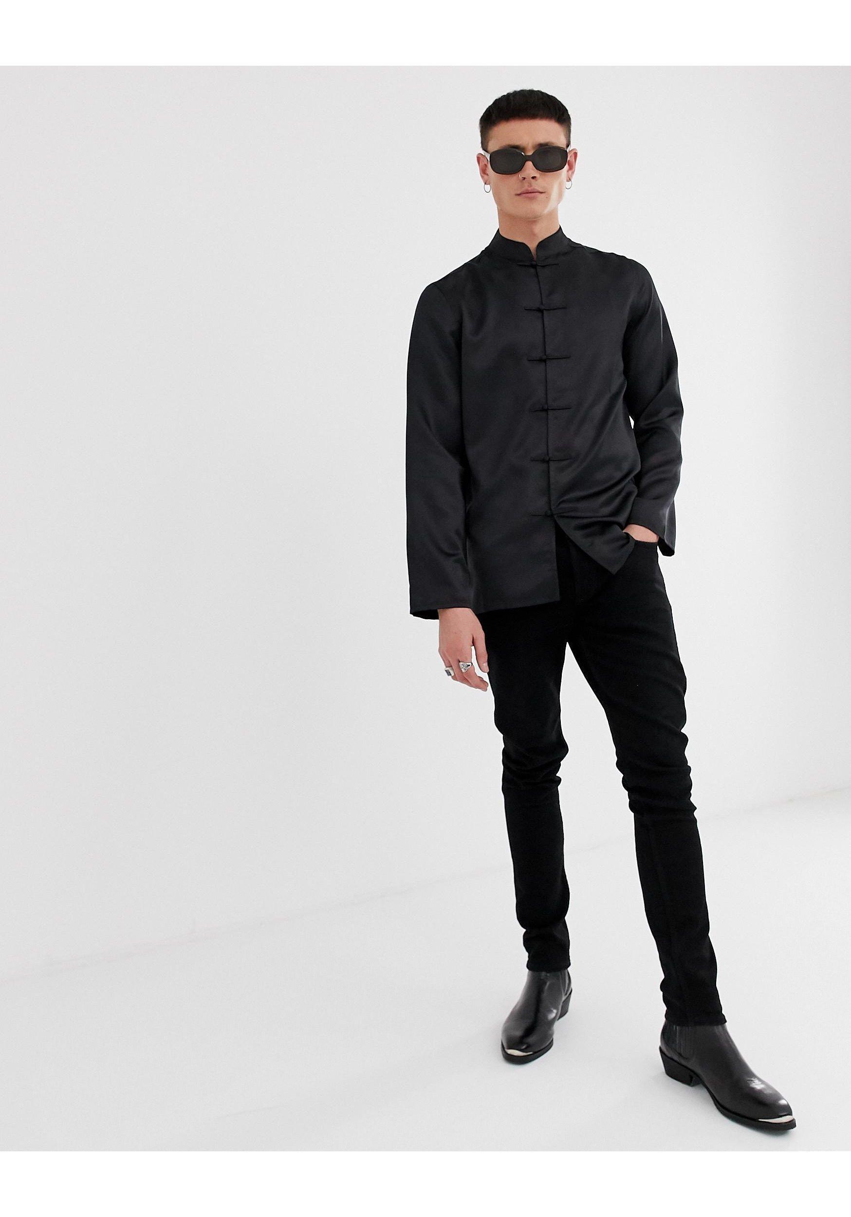 ASOS Synthetisch Regular-fit Satijnen Overhemd Met Chinese Kraag in het Zwart voor heren