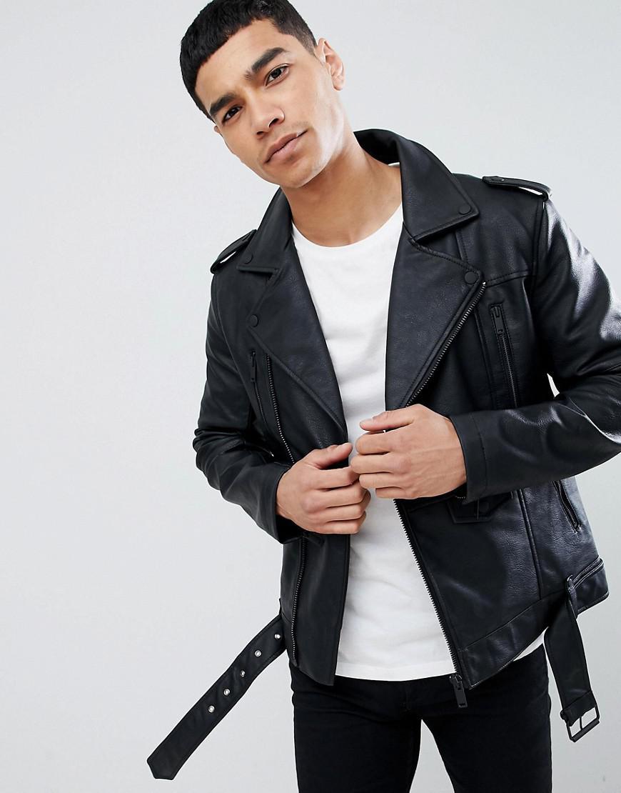 Bershka Denim Faux Leather Biker Jacket In Black In Gray For Men Lyst