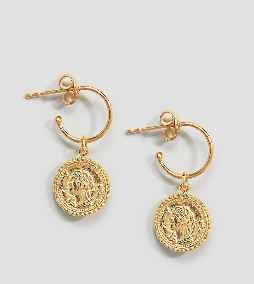 DESIGN Hoop earrings with vintage coin charms in gold plated sterling silver - Gold Asos vg4EV