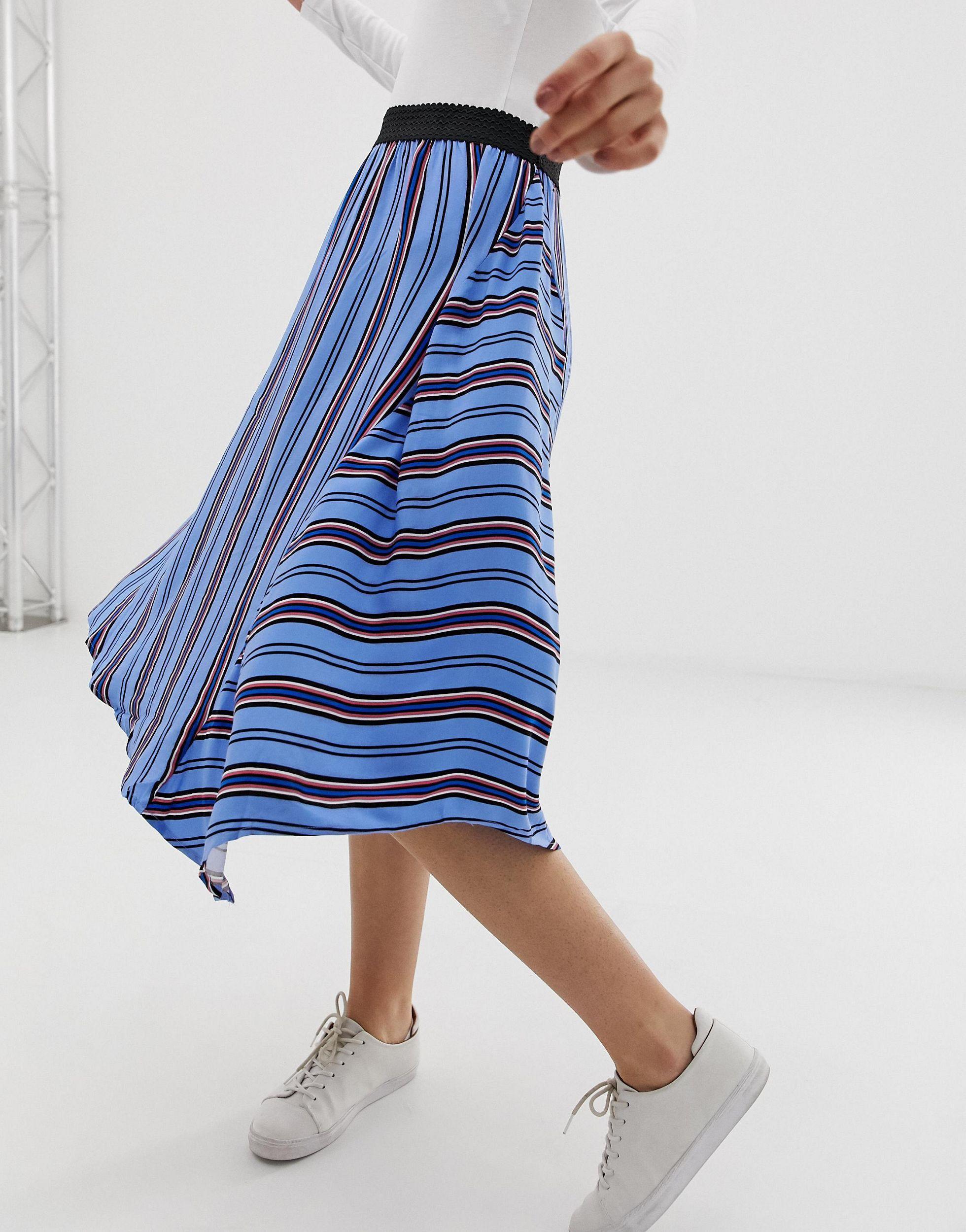 Jupe asymétrique à rayures Synthétique B.Young en coloris Bleu