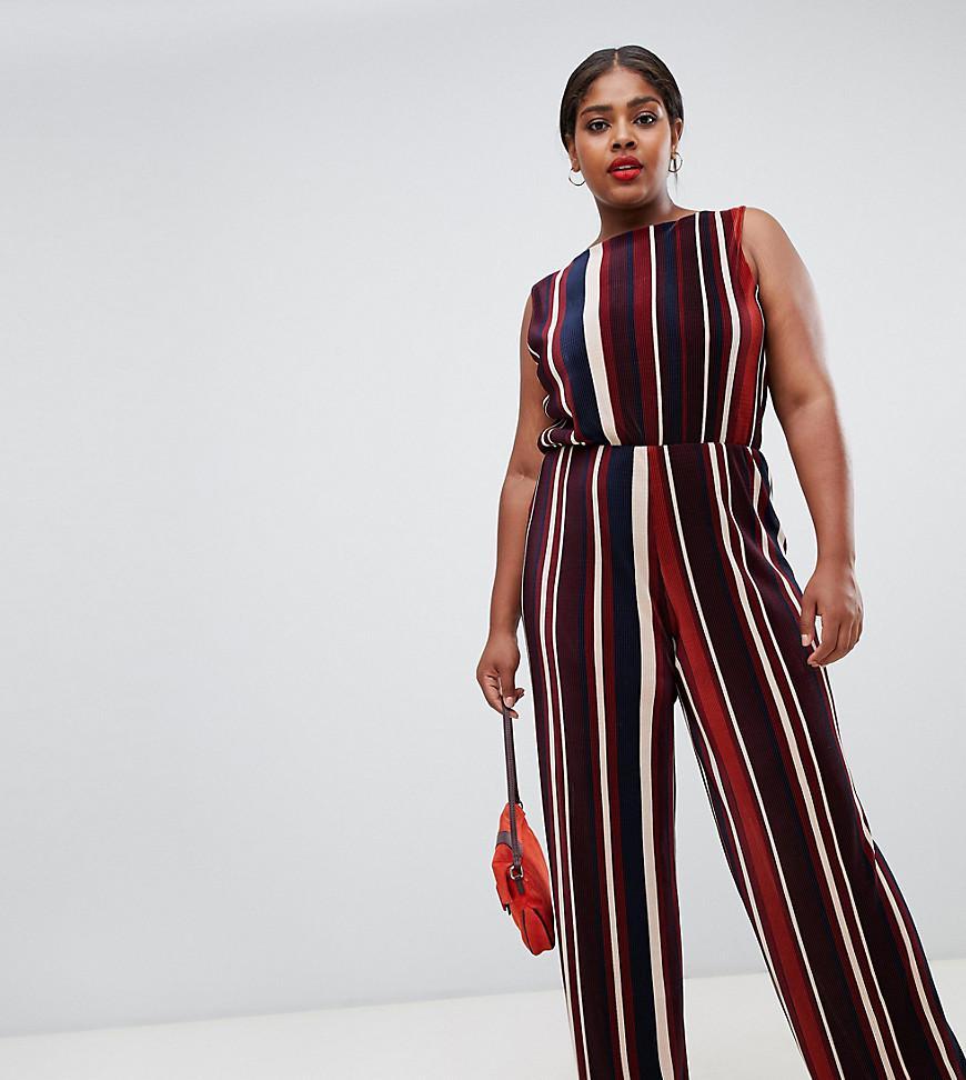 7de870e0f41 John Zack. Women s Red Plisse Wide Leg Jumpsuit In Contrast Stripe Print