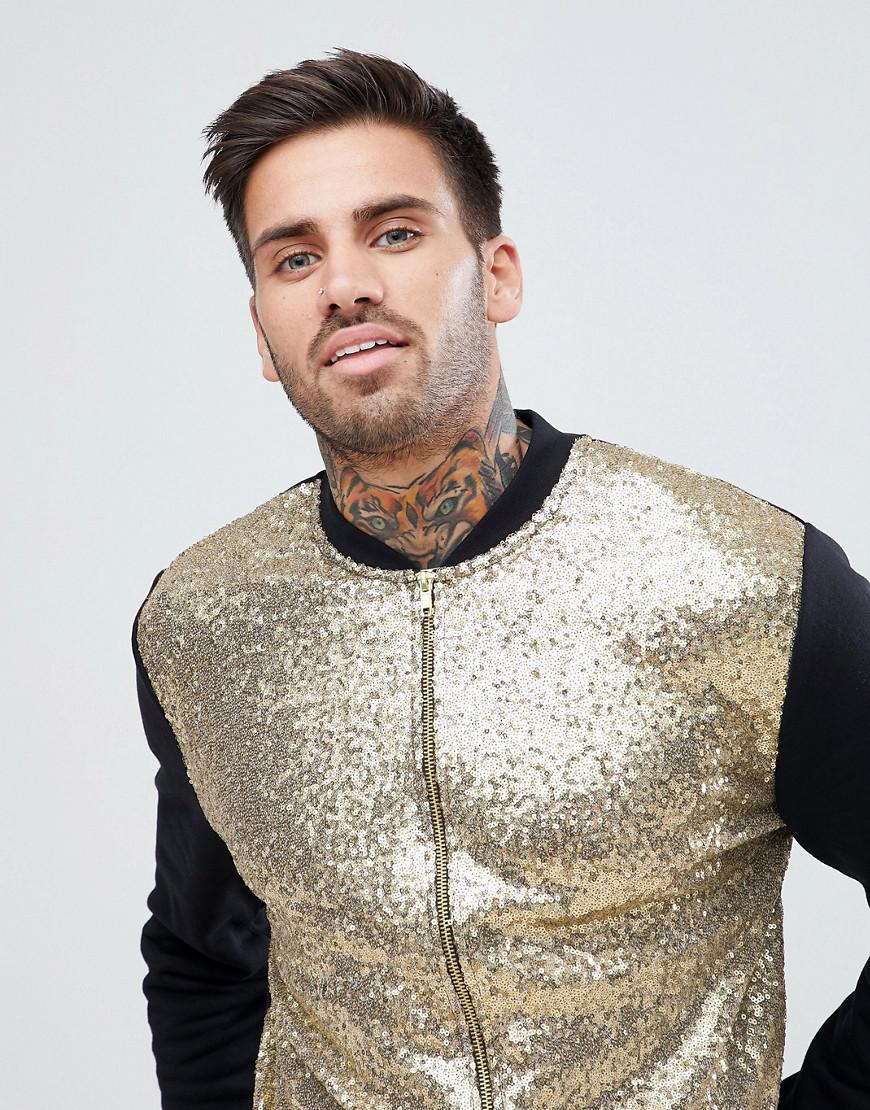 ASOS Denim Gold Sequin Bomber Jacket in Black for Men