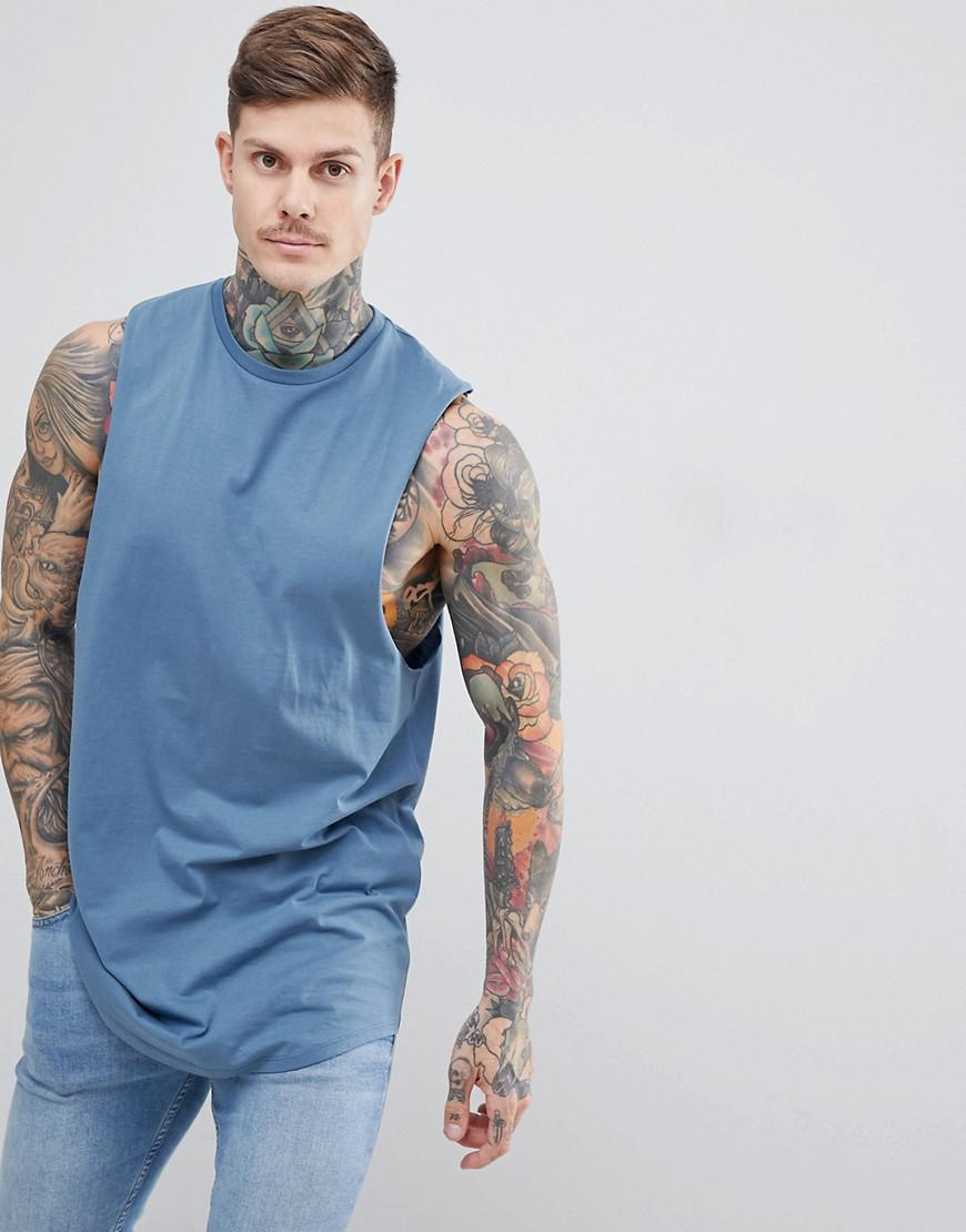 32086a5a8f4c1 ASOS. Men s Gray Super Longline Sleeveless T-shirt With Dropped Armhole ...
