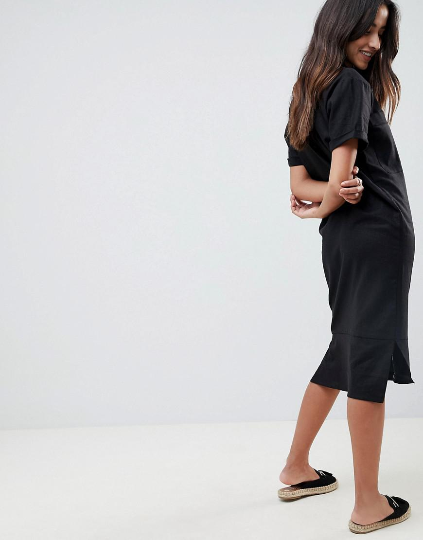 202f194f82 Lyst - ASOS Asos Casual Midi Shirt Dress In Linen in Black