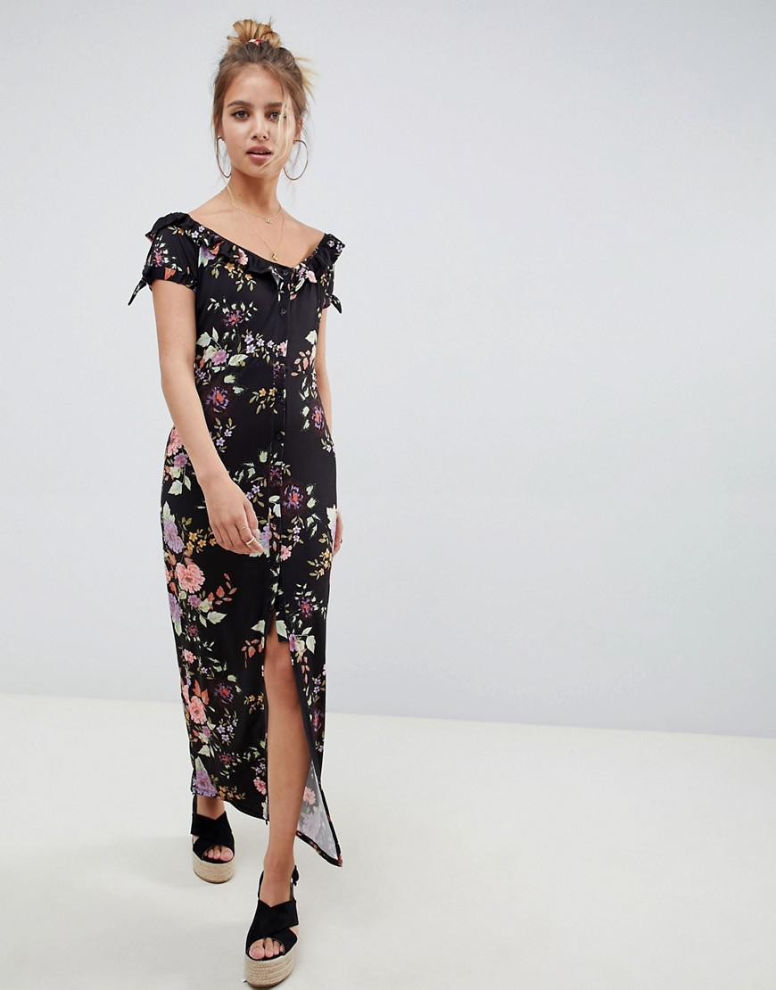 a92ffd1c816 ASOS - Black Button Through Sweetheart Neck Maxi Dress In Floral Print -  Lyst. View fullscreen
