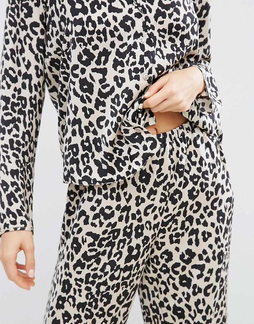 3a201927ef Lyst - ASOS Natural Leopard Print Satin Long Sleeve Shirt   Long Leg ...