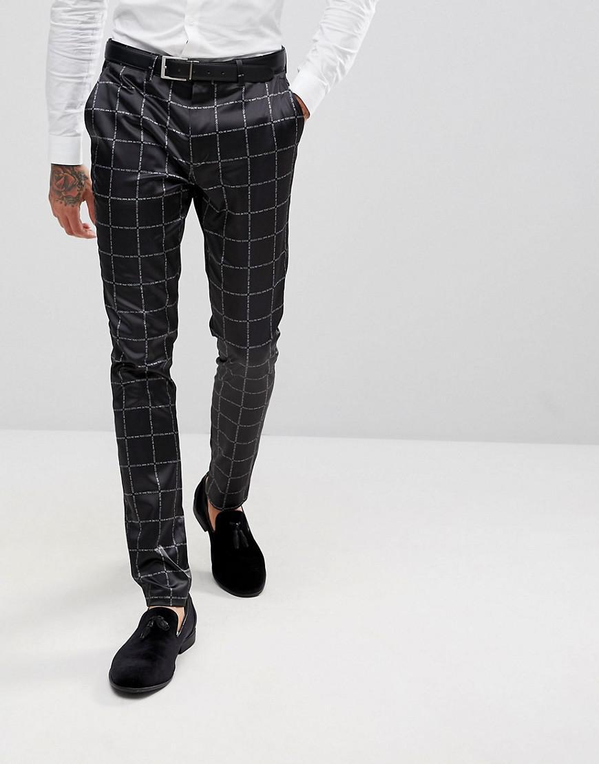 3171b8d74b82e ASOS Asos Super Skinny Suit Pants In Printed Slogan Check in Black ...