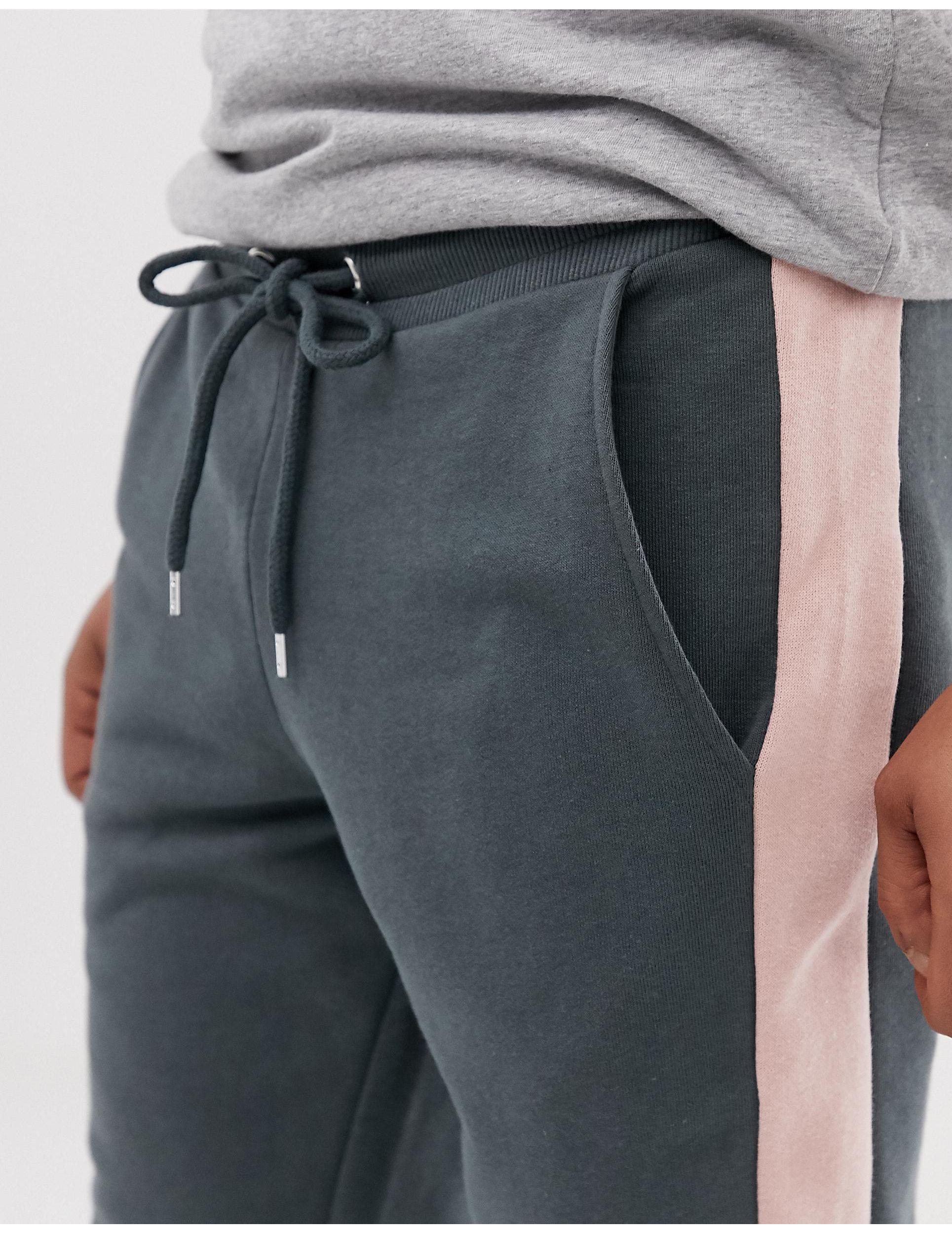 ASOS Katoen Skinny joggingbroek Met Zijstreep in het Zwart voor heren