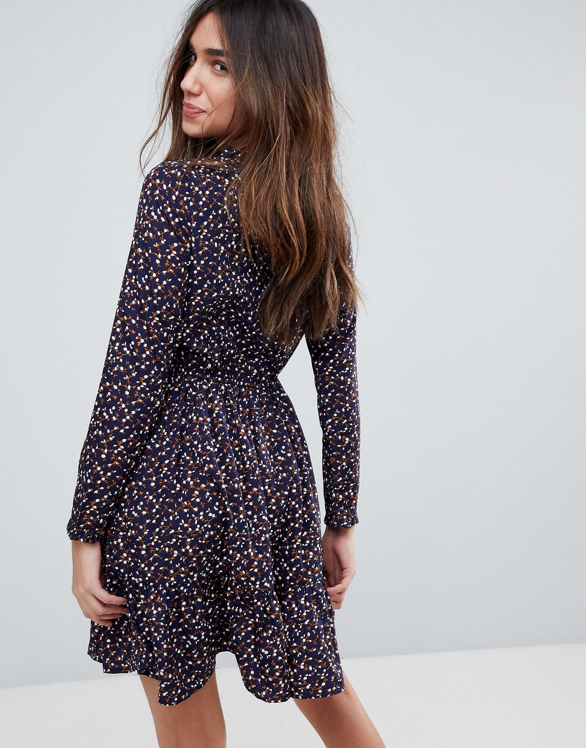 Yumi Langarmliges Kleid Mit Blumchenmuster In Blau Lyst