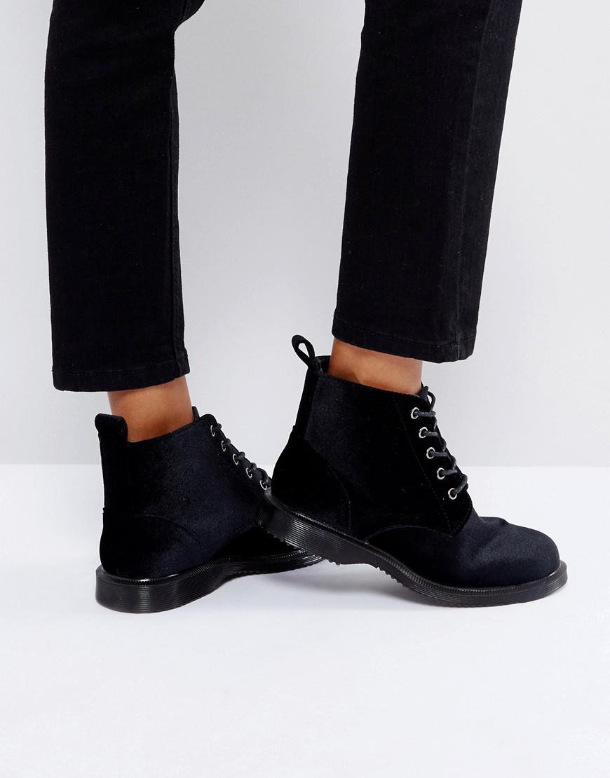 00245397ab2 Truffle Collection Lace Up Velvet Ankle Boots in Black - Lyst
