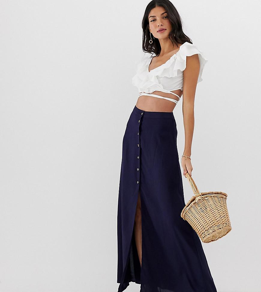 00f07f808 Falda larga con botones delanteros de mujer de color azul