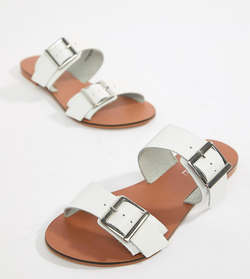 ASOS DESIGN Wide Fit Victorious leather buckle sliders mvbL6NcrS