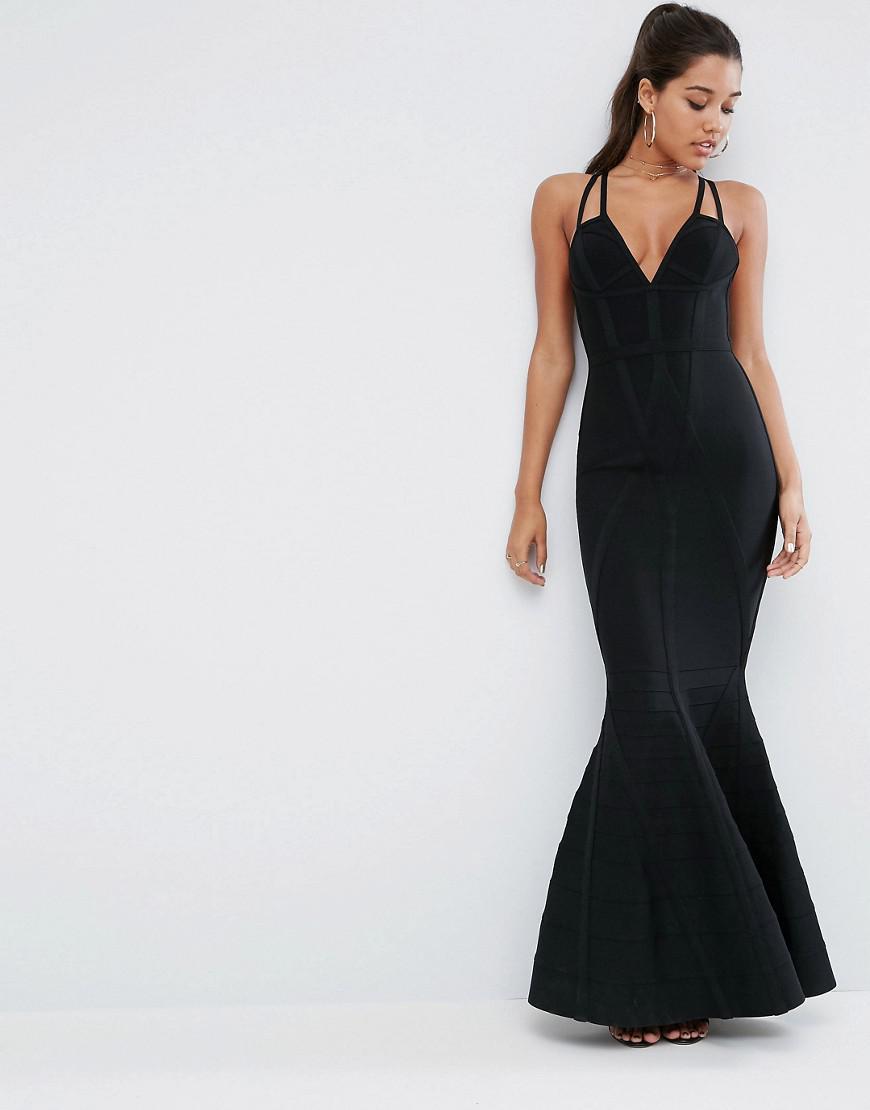 Vestido Curva calidad vendaje Asos alta de maxi de Negro alto rF160qrwx7