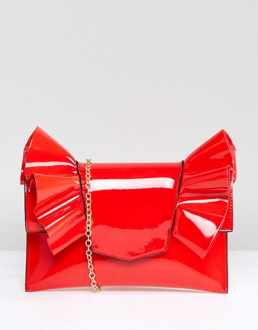 Lyst - Missguided Patent Bow Clutch Bag In Red