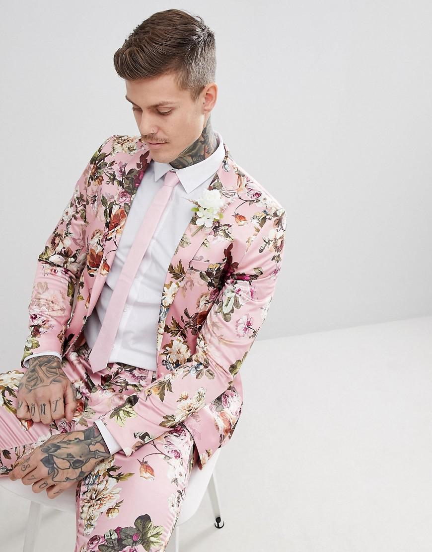 ASOS Wedding Skinny Suit Jacket In Blush Floral Sateen Print in Pink ... 0261460c80