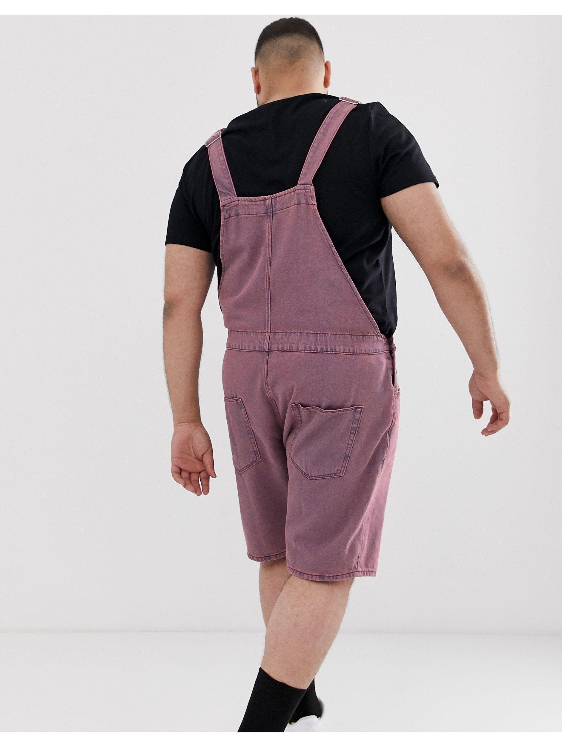 ASOS Plus - Denim Korte Tuinbroek in het Roze voor heren