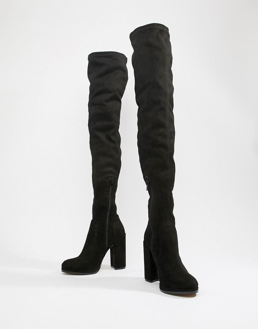 e8150bbab16 Lyst - ASOS Asos Design Wide Fit Tall Kassidy Heeled Over The Knee Boots in  Black