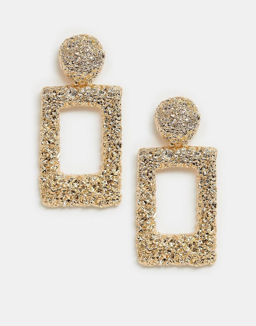 Rectangular Textured Drop Earrings In Gold