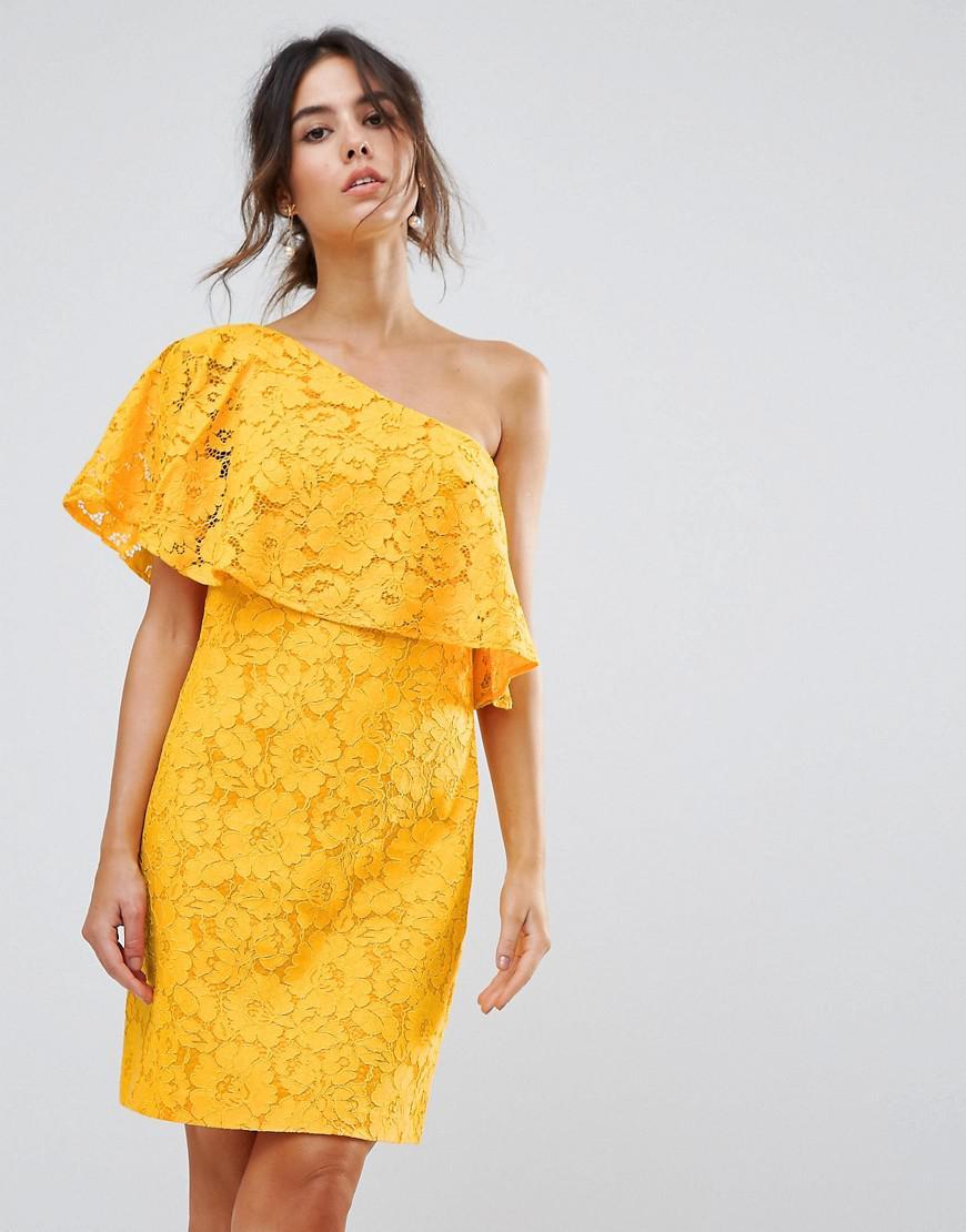 En Robe Warehouse Asymtrique Coloris Tisse Yellow Dentelle Non 0wOknP8X