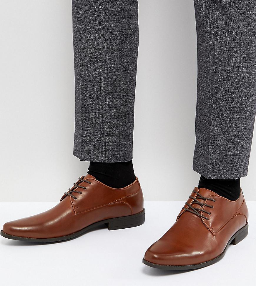 Wide Fit Lace Up Derby Shoes In Tan Faux Leather - Tan Asos mxNj61