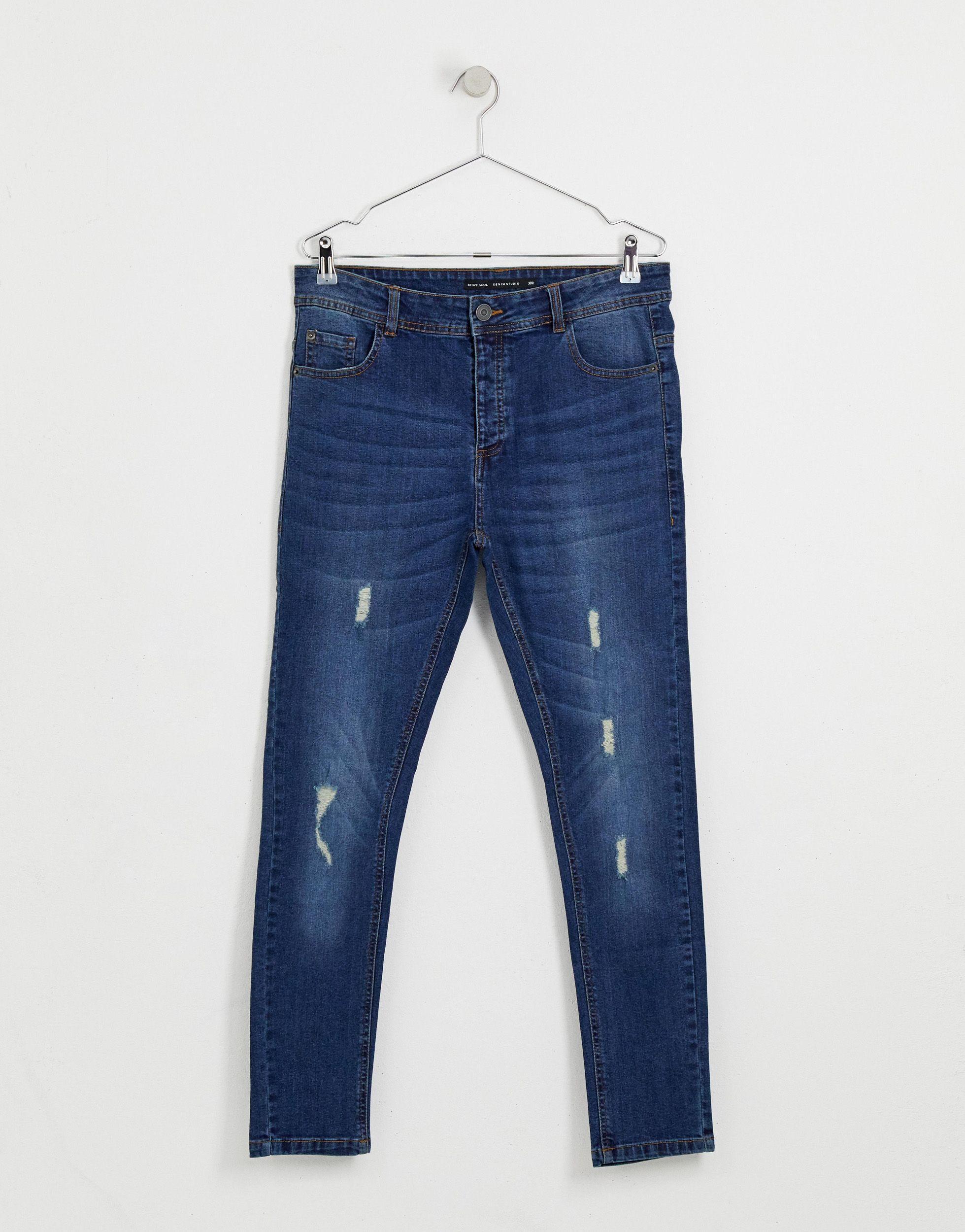 Brave Soul Denim Skinny-fit Jeans Met Blauwe Wassing in het Blauw voor heren