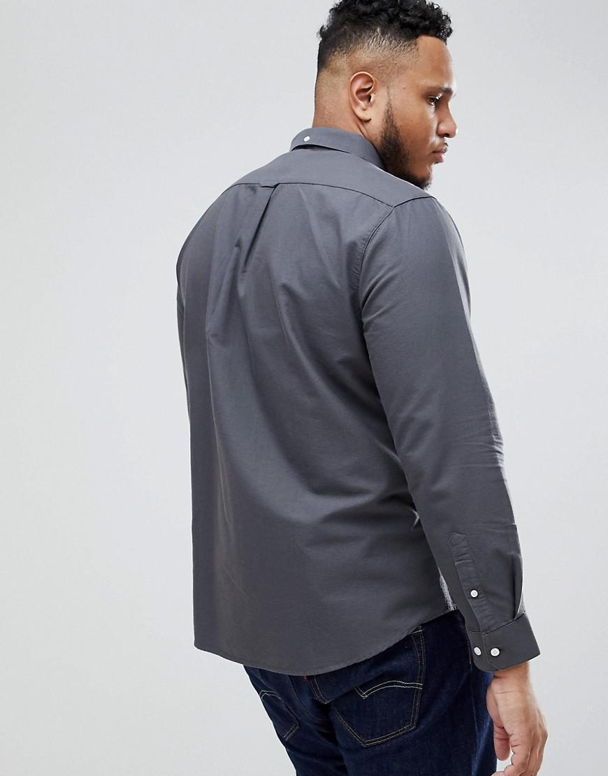 Farah Canvas Brewer - Slim-fit Oxford Overhemd In Grijs, Exclusief Bij Asos in het Grijs voor heren