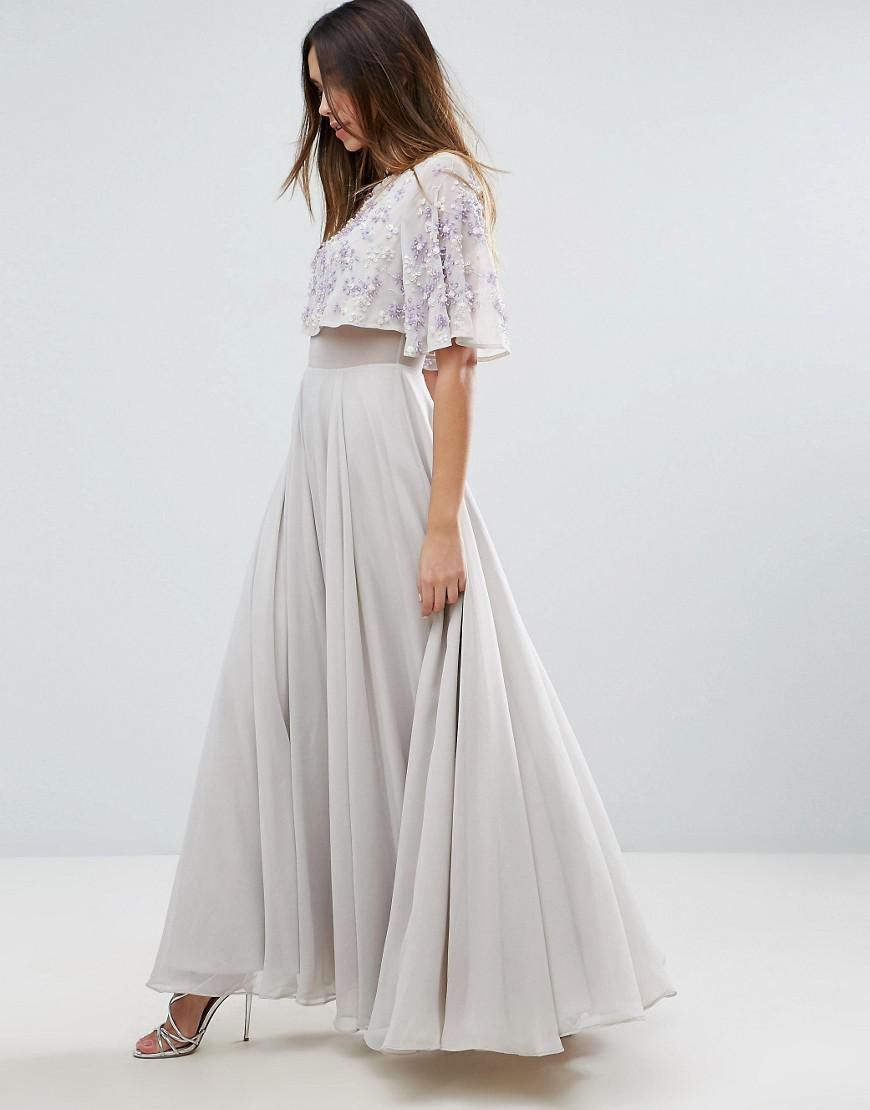 ASOS Chiffon Embellished Flutter Sleeve Maxi Dress in Grey (Grey)