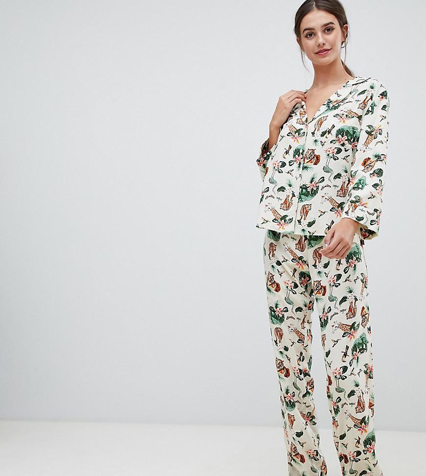 ASOS. Women s Asos Design Tall Safari Print Traditional Pyjama Set 37f727aaa