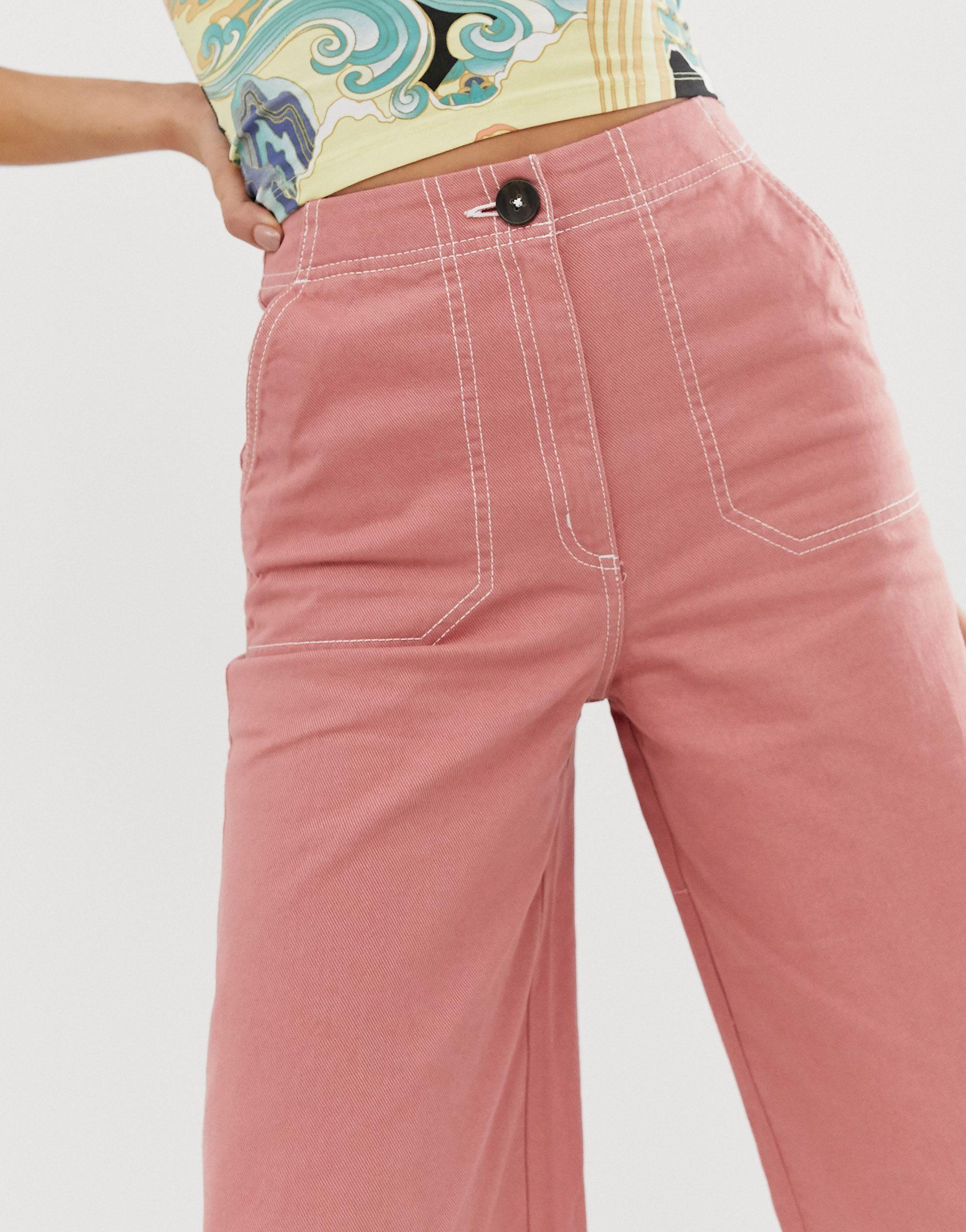 Pantalones rosas Monki de Denim de color Rosa