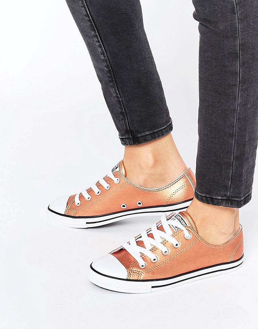 All Star Dainty Rose Gold Metallic Trainers