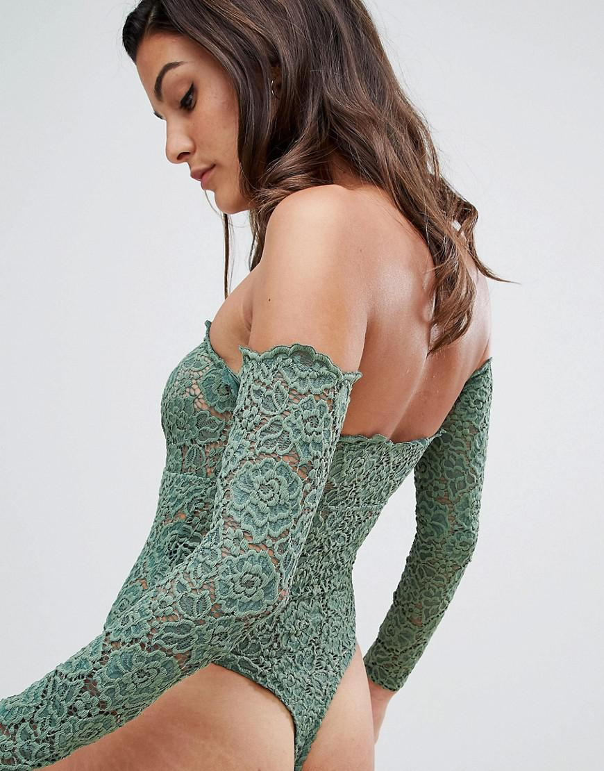 3f18042ce2 Lyst - ASOS Asos Lex Premium Lace Long Sleeve Off Shoulder Bodysuit in Green