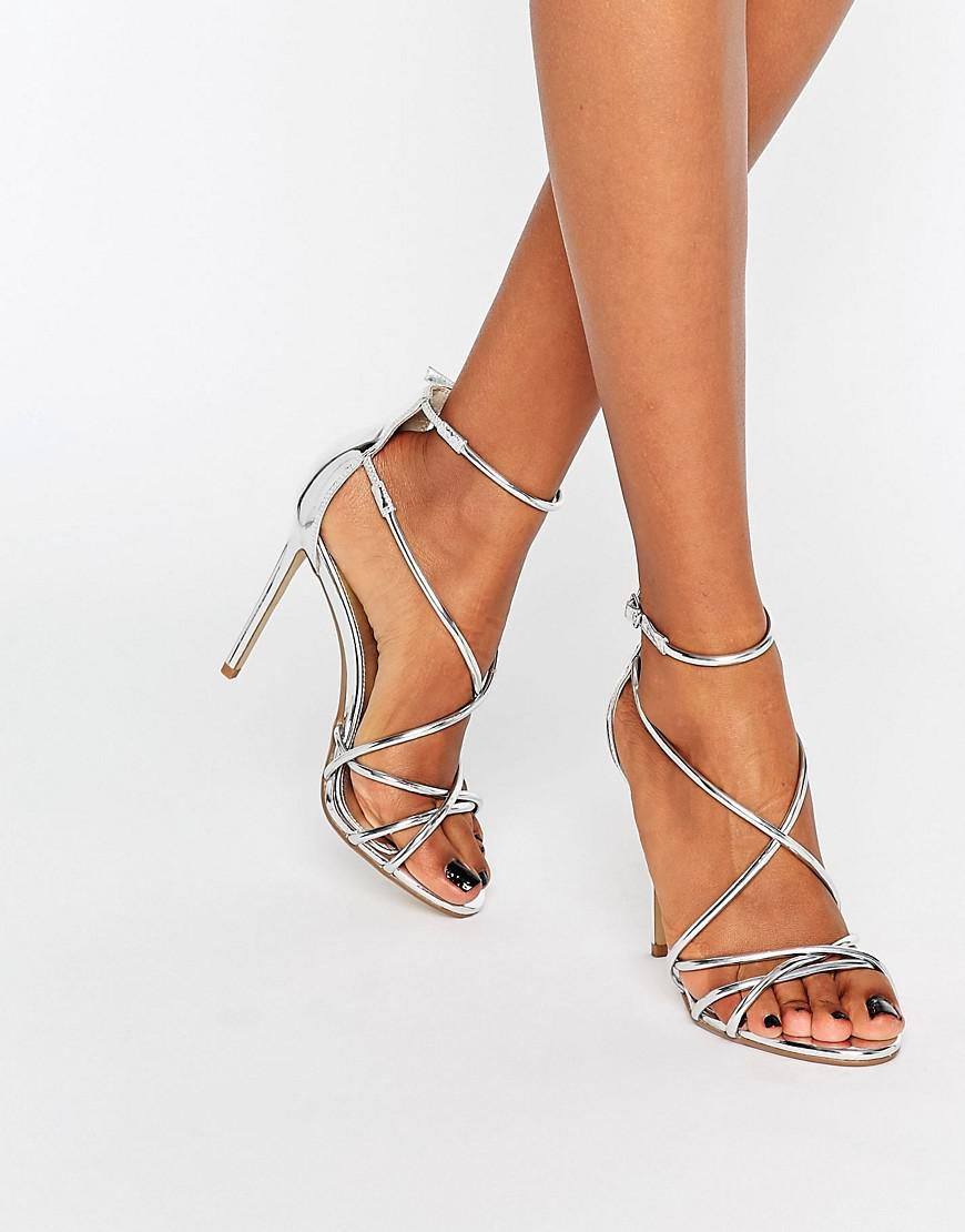 sleek reliable quality super cute Spindle Silver Mirror Strappy Heeled Sandals