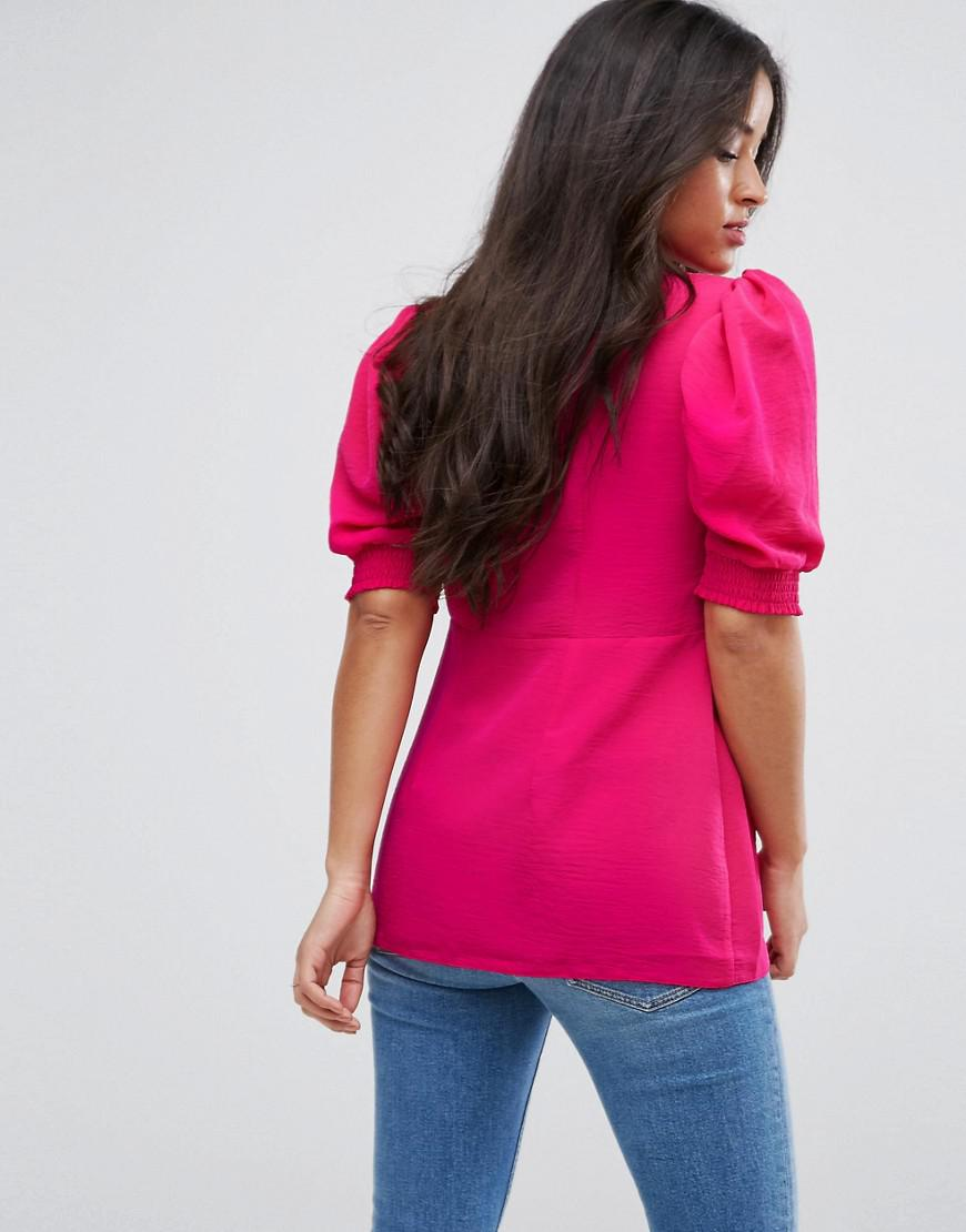 ASOS Synthetic Petite Puff Sleeve Blouse With Hardware Detail in Pink