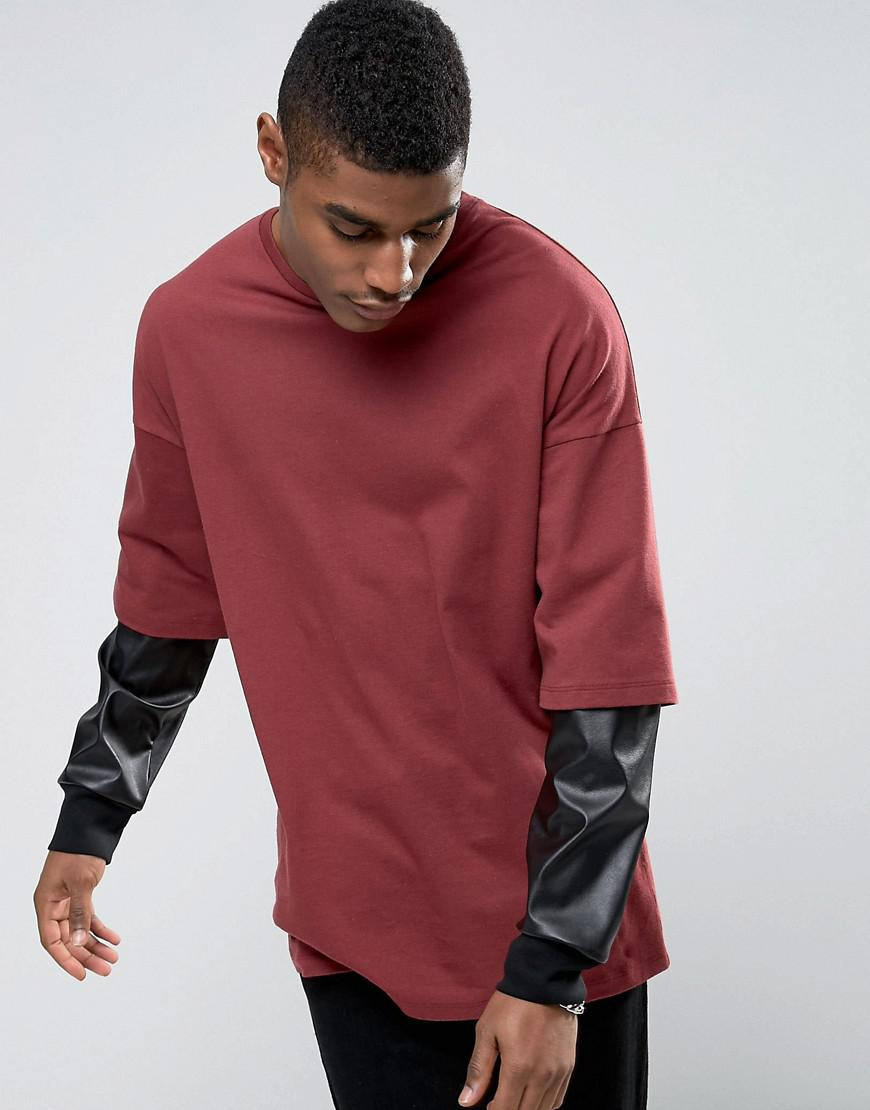 ASOS. Men's Red Oversized Long Sleeve T-shirt With Leather Look Double  Sleeve