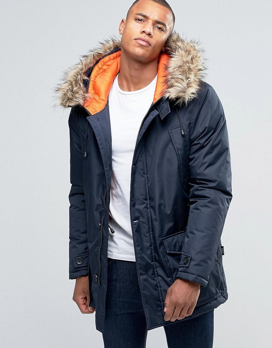 Lyst D Struct Faux Fur Trimmed Parka Jacket In Blue For Men