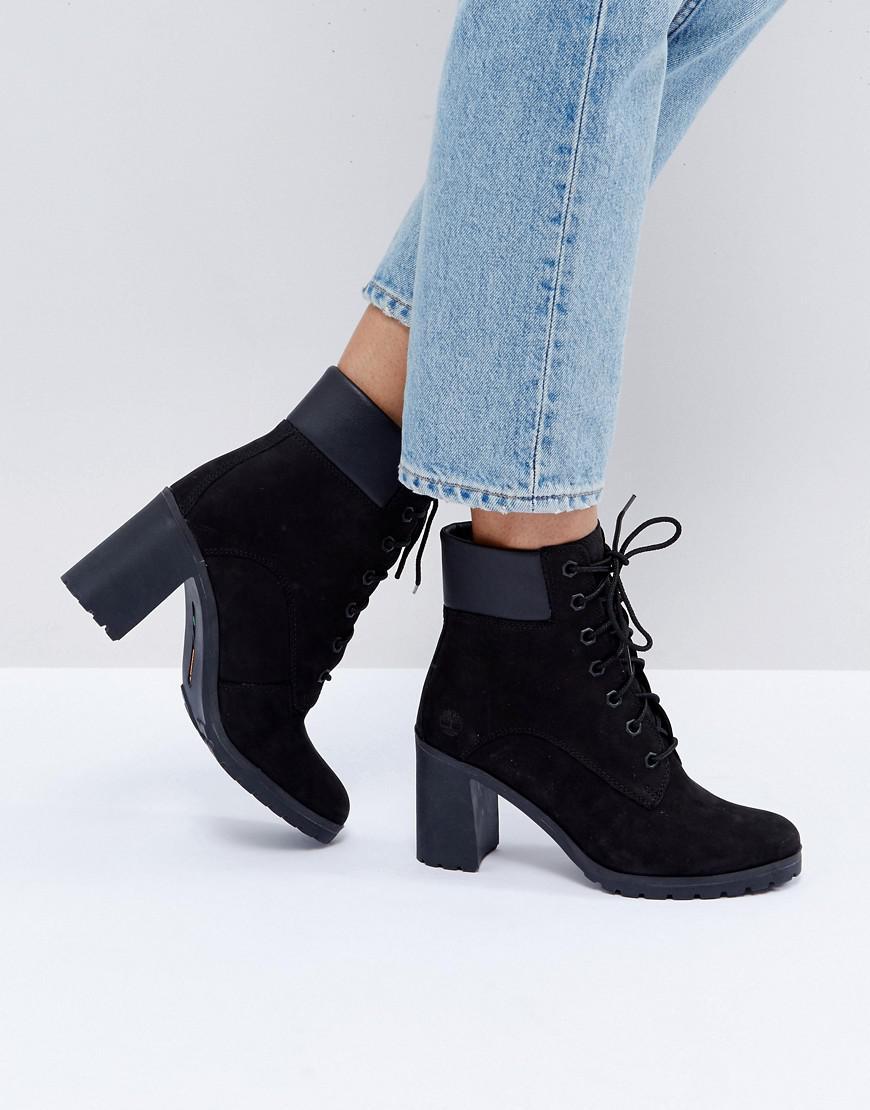 Black Nubuck Heeled Ankle Boots - Lyst