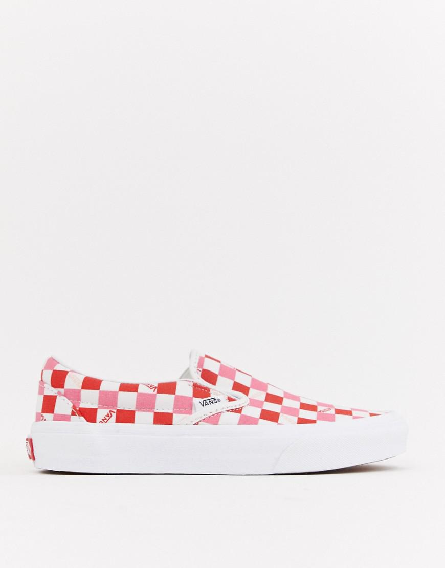 80f540355a2 Vans - Multicolor Exclusive Red And Pink Checkerboard Slip On Trainers -  Lyst. View fullscreen