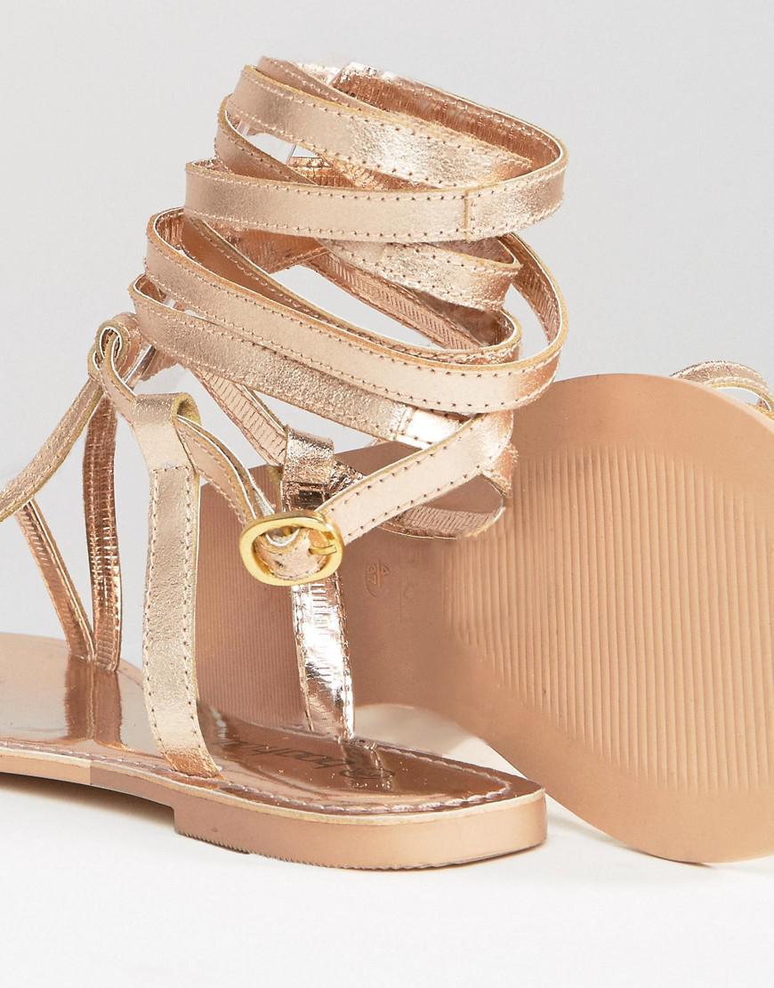 72b3901bb Boohoo Metallic Strappy Lace Up Flat Sandal in Metallic - Lyst