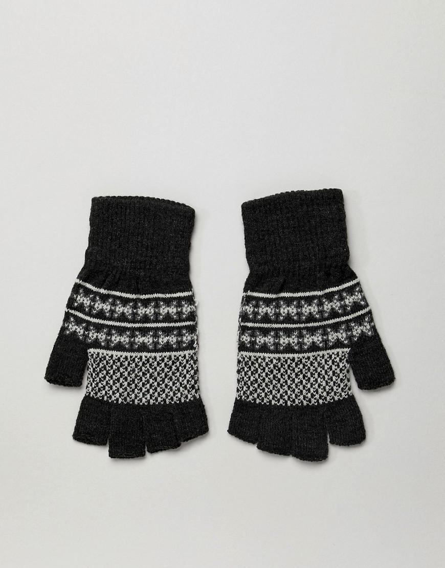 Lyst - Asos Design Fingerless Gloves In Grey Fairisle in Gray for Men